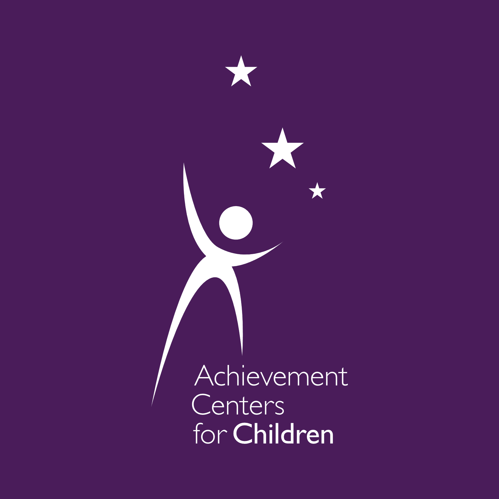 Logo for Achievement Centers for Children. A child playing with 3 stars