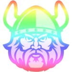 Logo for Cleveland State University Queer Student Alliance. The face of a viking with a rainbow gradient as the colors.
