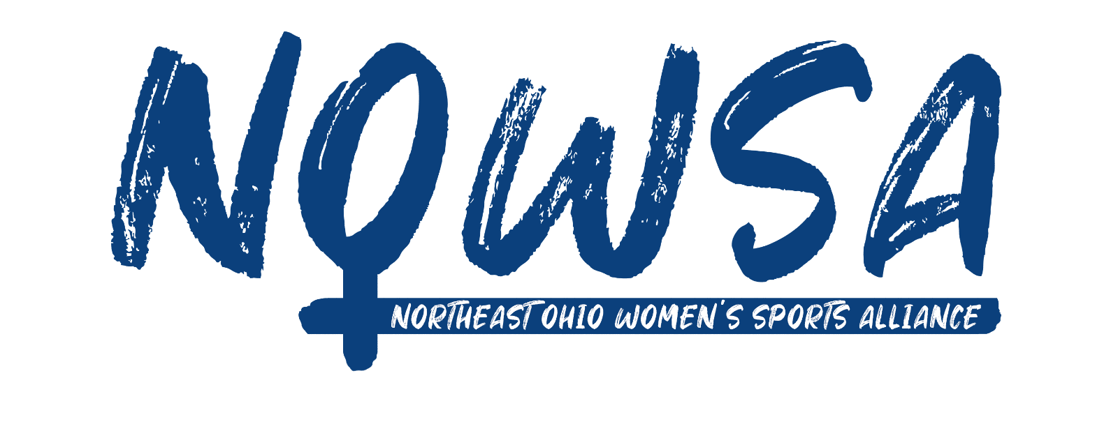 Logo that abbreviates Northeast Ohio Women's Sports Alliance as NOWSA. The O is the female gender symbol ♀